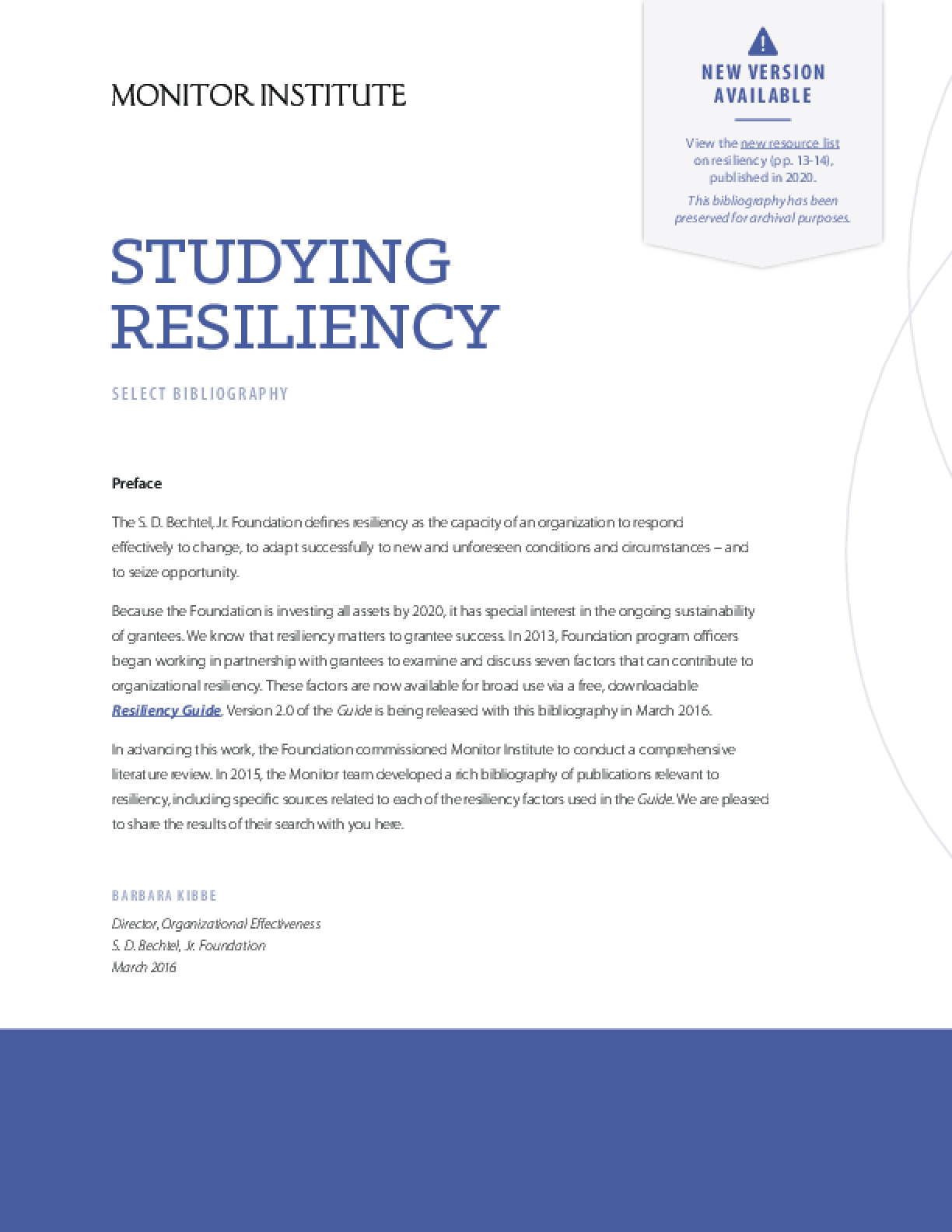 Studying Resiliency: Select Bibilography