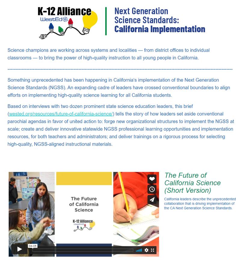The Future of California Science (Short Version)