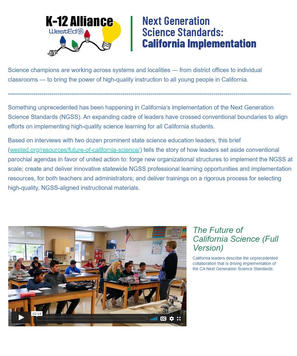 The Future of California Science (Full Version)