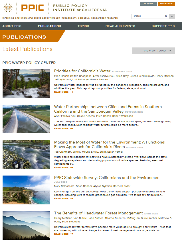 Public Policy Institute of California Water Policy Center Publication Collection