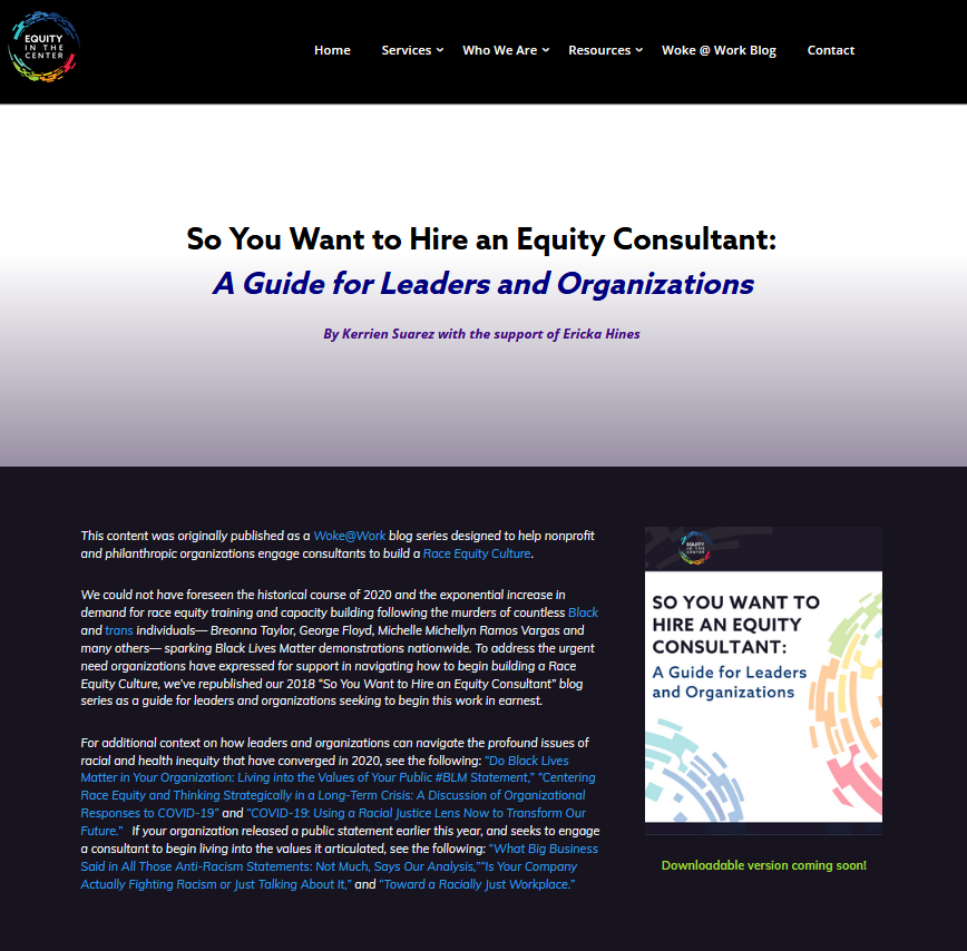 So You Want to Hire an Equity Consultant: A Guide for Leaders and Organizations